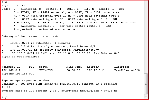 R1 AFTER OSPF configuration